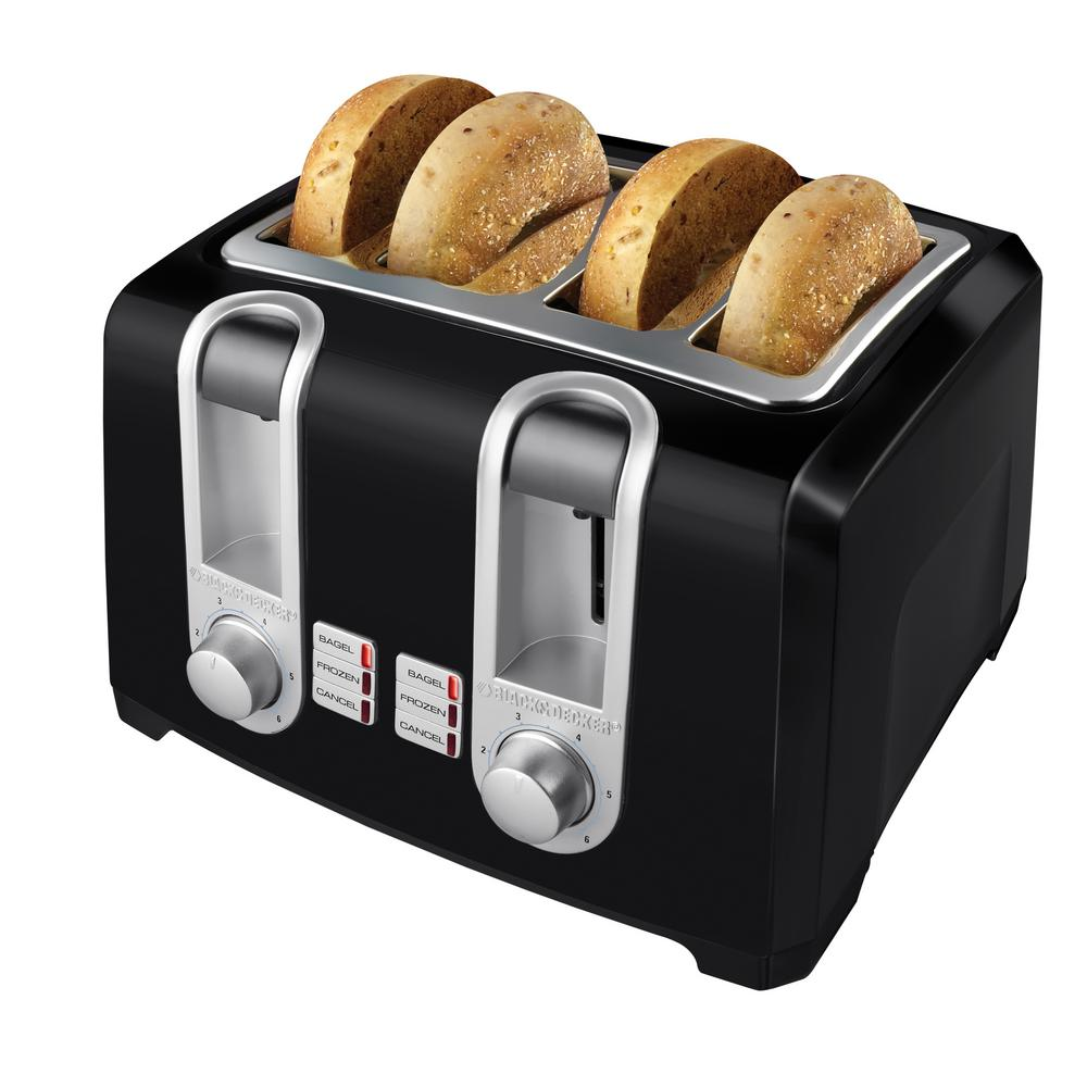 4-Slice Toaster in Black Frozen waffles, toaster pastries, bagels, homemade breads, toaster hash browns and more…this toaster with frozen, bagel and cancel functions toasts them all. Versatile capabilities and sleek styling make this toaster a real must-have for your kitchen. Color: Black.