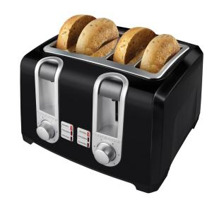 4-Slice Extra-Wide Slot Black Toaster with Browning Control