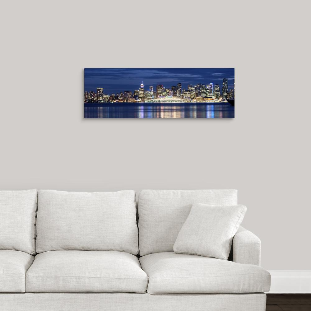 Vancouver at night panoramic by circle capture canvas wall art