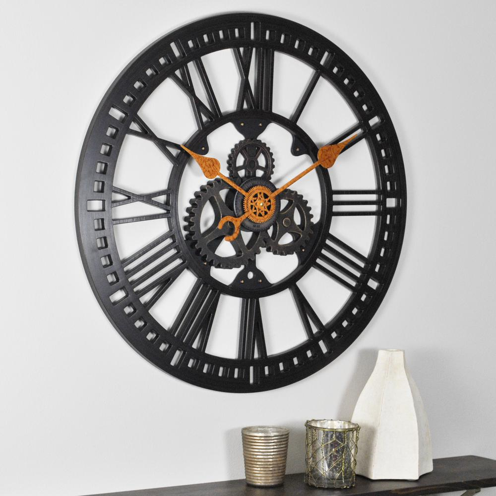 Firstime 24 In Round Roman Gear Wall Clock 00182 The