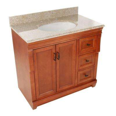 Naples 37 in. W x 22 in. D Bath Vanity in Warm Cinnamon with Right Drawers with Granite Vanity Top in Beige