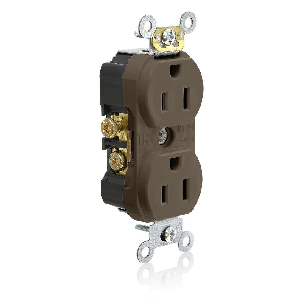 Leviton 15 Amp Commercial Grade Tamper Resistant Side Wired Self Duplex Decora Switch Wiring Diagram Grounding Outlet Brown