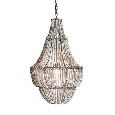 Bungalow Lane 1-Light White Washed Beaded Chandelier