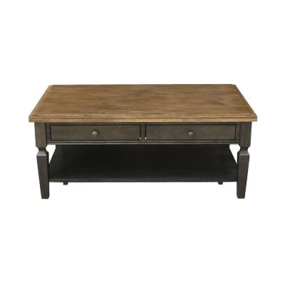 Vista 48 in. Hickory/Coal Large Rectangle Wood Coffee Table with Drawers