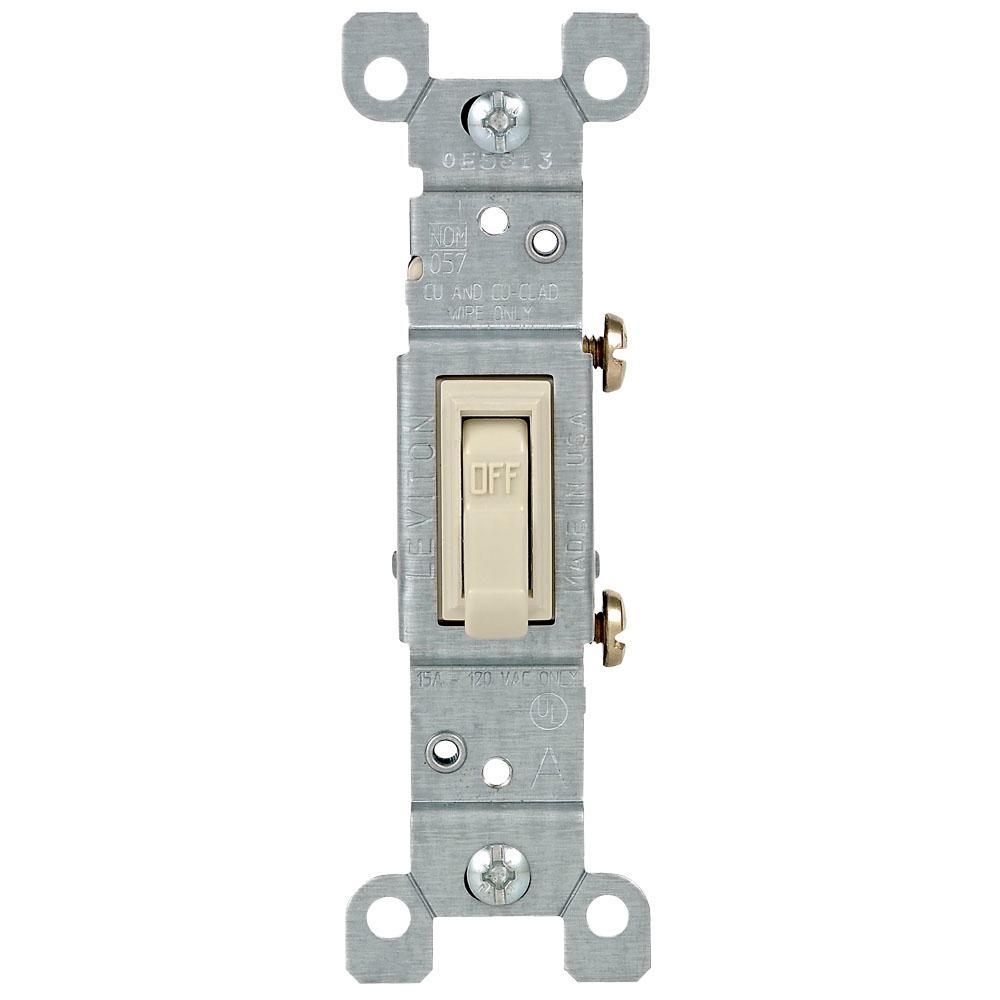15 Amp Single-Pole Toggle Light Switch, Light Almond