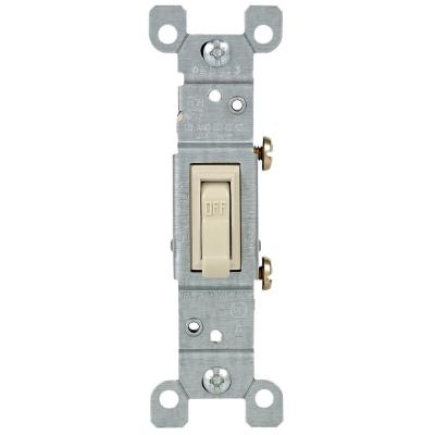 15 Amp Single-Pole Toggle Light Switch, Light Almond