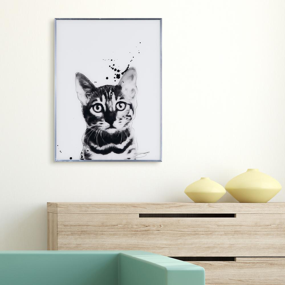 Empire Art Direct Bengal Cat Black And White Cat Paintings On Reverse Printed Glass Framed Wall Art Aags Jp1048 2418 The Home Depot