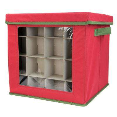 Red Non-woven 64 Ornament Organizer
