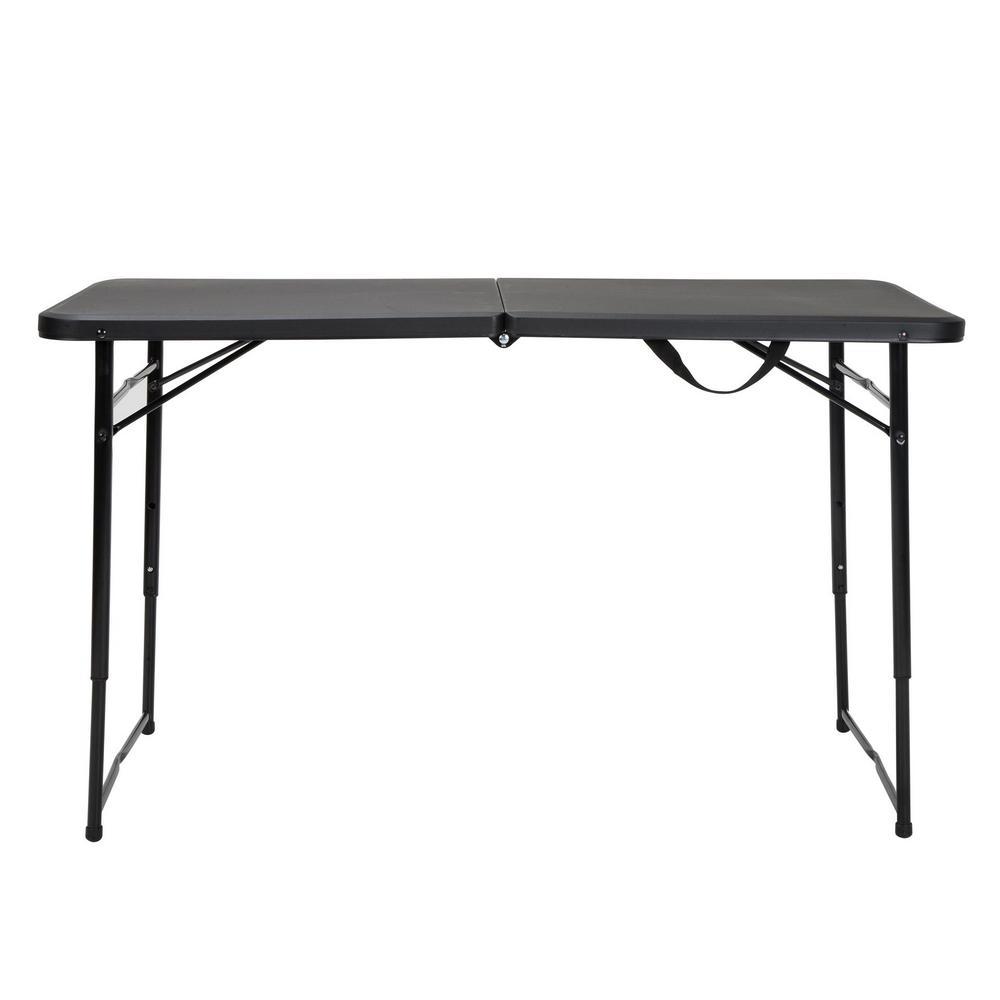 cosco 48 in black plastic portable folding high top table 14402blk1e the home depot. Black Bedroom Furniture Sets. Home Design Ideas