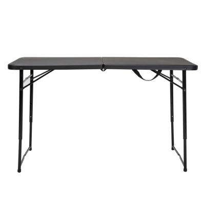 48 in. Black Plastic Portable Folding High Top Table
