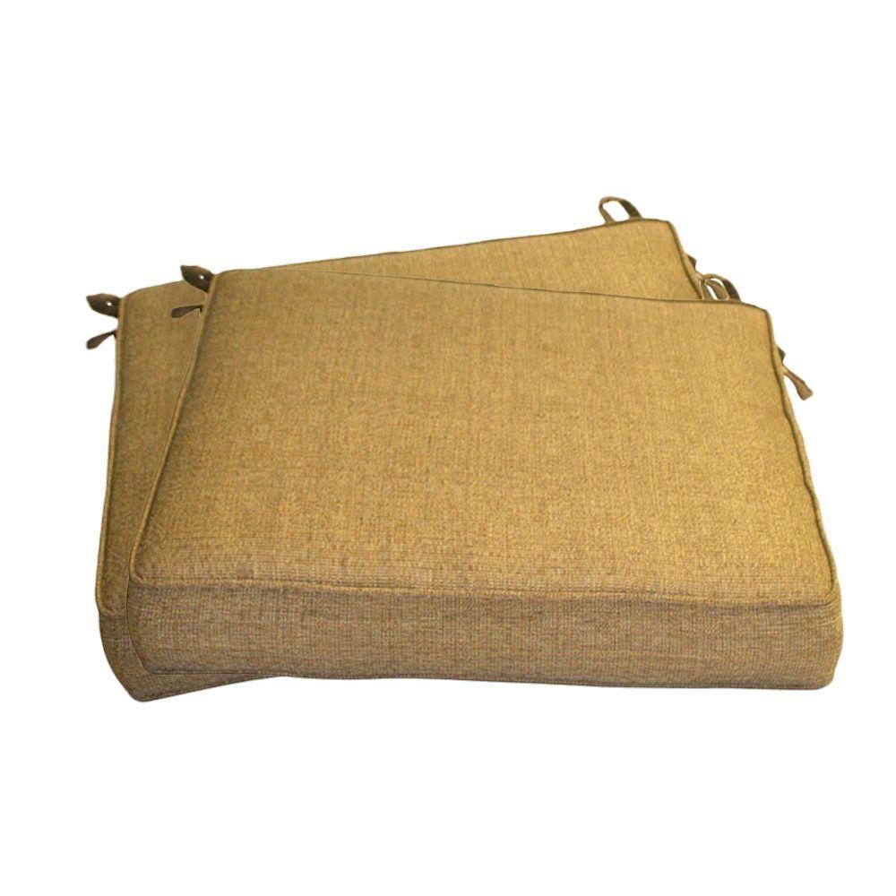 Peak Season Tan Outdoor Seat Cushion (2-Pack)
