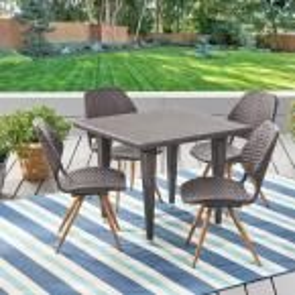 Cadlao Multi-Brown 5-Piece Wicker Outdoor Dining Set