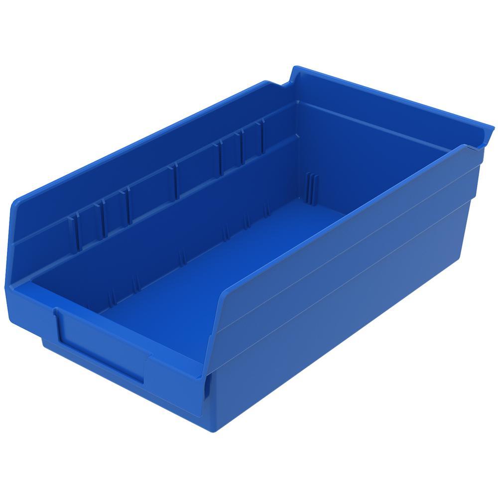 Shelf Bin 15 lbs. 11-5/8 in. x 6-5/8 in. x 4 in. Storage Tote in Blue with 0.8 Gal. Storage Capacity