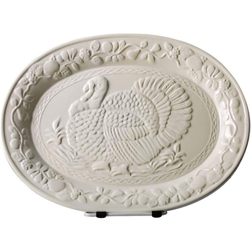 13.4 in. White Turkey Ceramic Serving Platter