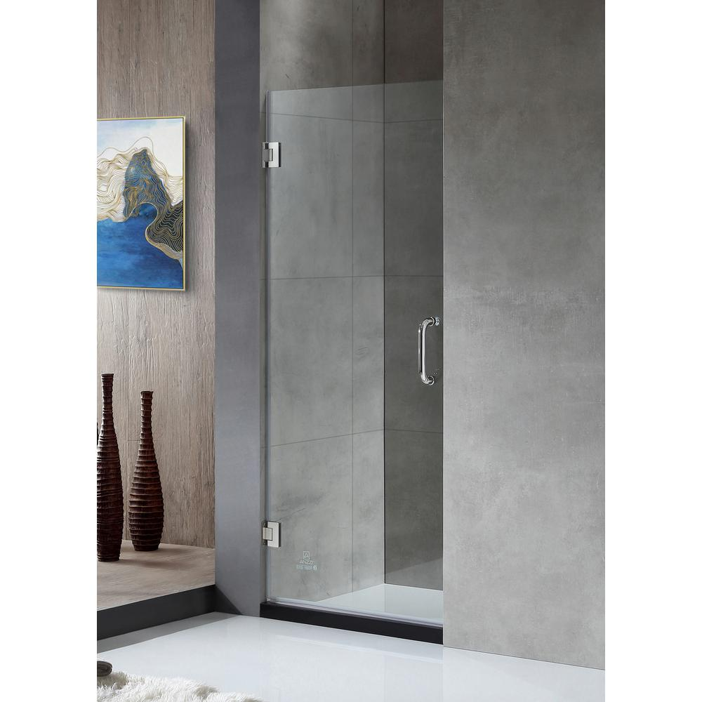 ANZZI ANZZI FELLOW Series 30 in. by 72 in. Frameless Hinged Shower Door in Chrome with Handle