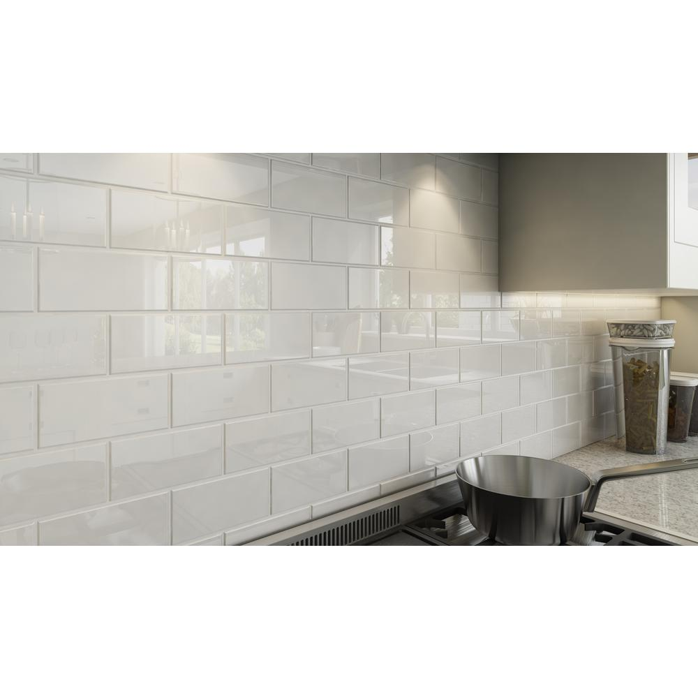 - Giorbello Bright White 3 In. X 6 In. X 8 Mm Glass Subway Tile (5.5