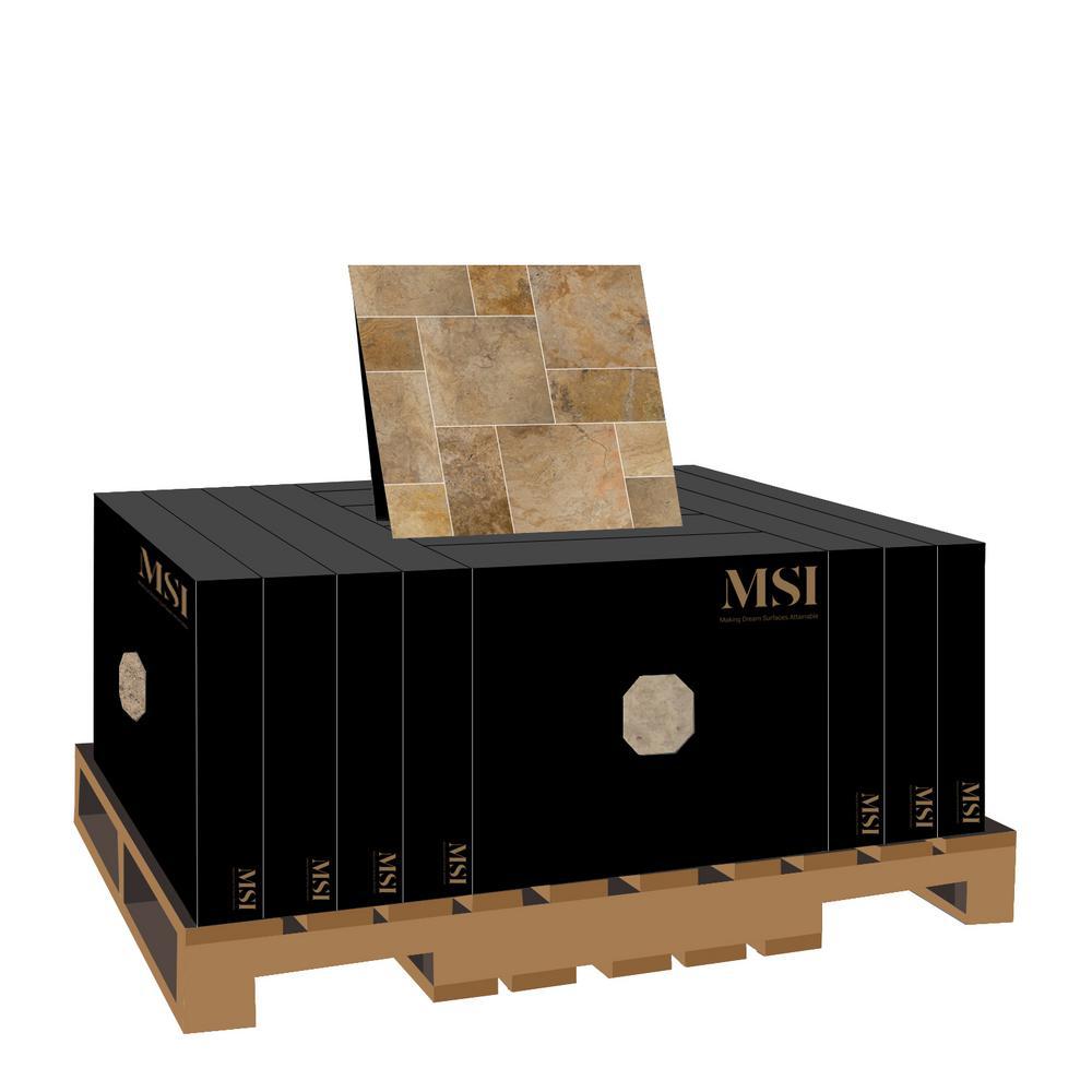 MSI Porcini Pattern Tumbled Travertine Paver Kits (10-Kits/160 Sq. ft. / Pallet)