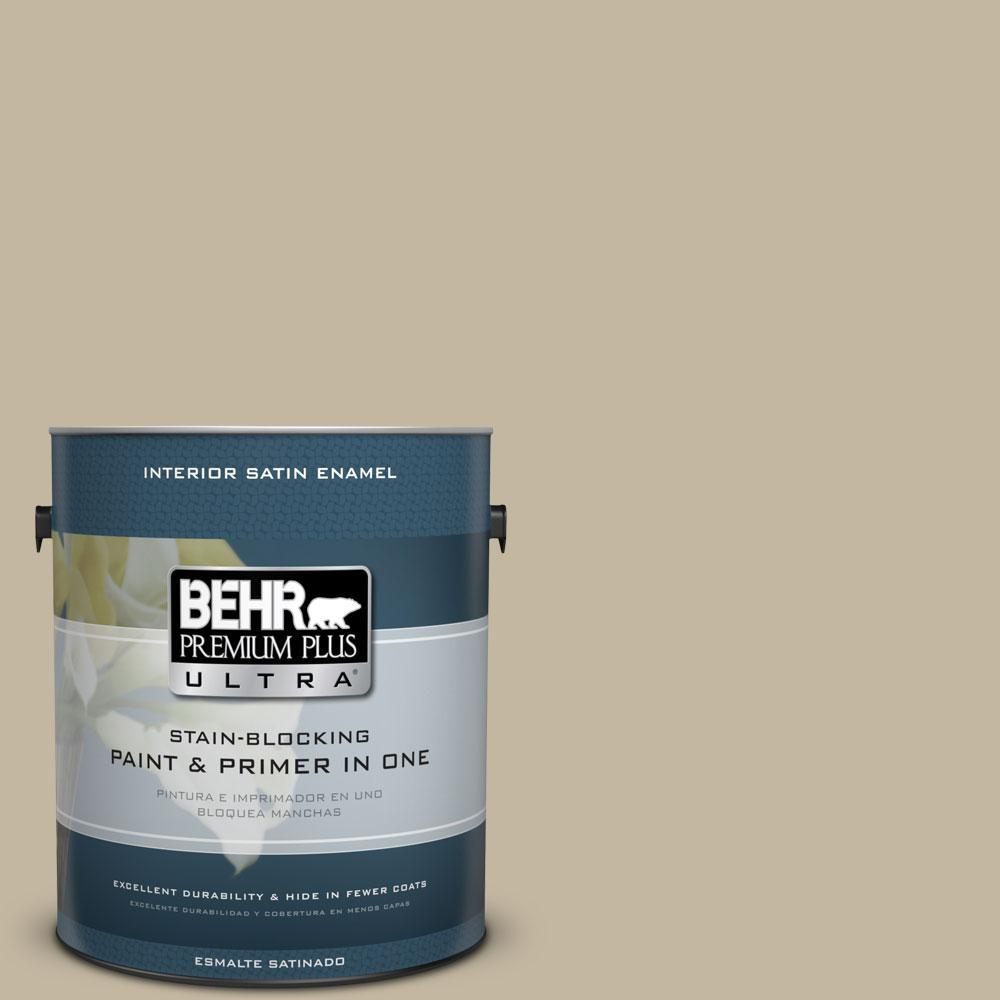 BEHR Premium Plus Ultra Home Decorators Collection 1-gal. #HDC-NT-09 Basic Khaki Satin Enamel Interior Paint