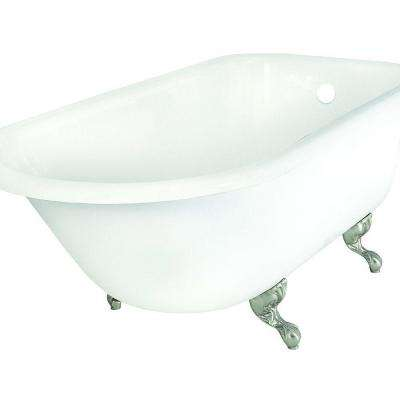 67 in. Roll Top Cast Iron Tub Less Faucet Holes in White with Ball and Claw Feet in Chrome