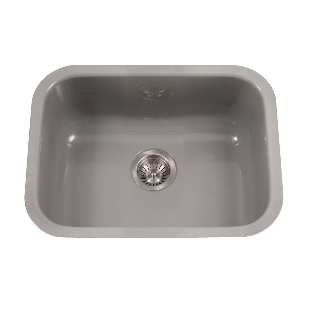 Houzer Porcela Series Undermount Porcelain Enamel Steel 23 In Single Bowl Kitchen Sink Slate