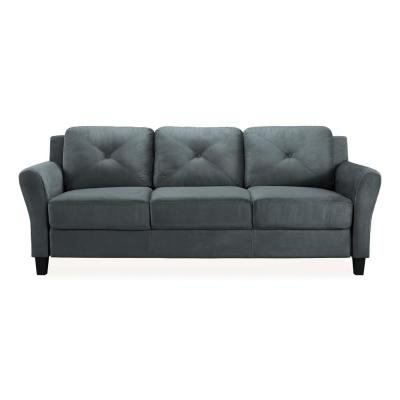 Harvard 31.5 in. Dark Grey Microfiber 4-Seater Tuxedo Sofa with Round Arms