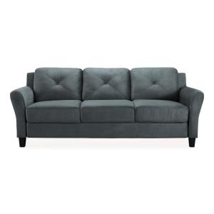Deals on Lifestyle Solutions Harvard Microfiber Sofa with Rolled Arms