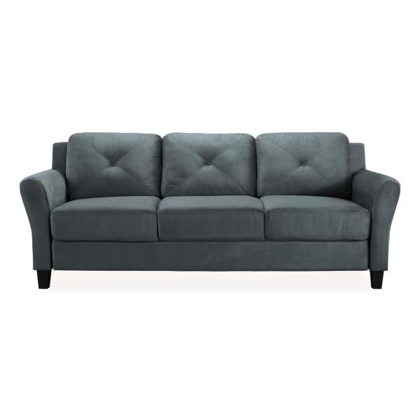 Lifestyle Solutions Harvard Microfiber Sofa with Rolled Arms in Dark ...