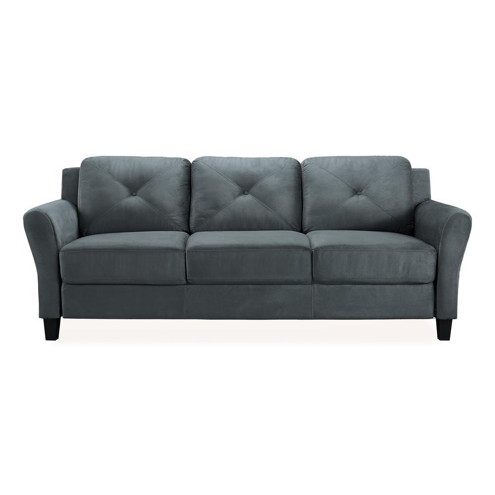 Harvard Microfiber Sofa With Rolled Arms In Dark Grey