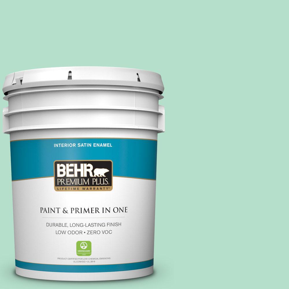 BEHR Premium Plus 5-gal. #480C-3 Aqua Bay Zero VOC Satin Enamel Interior Paint