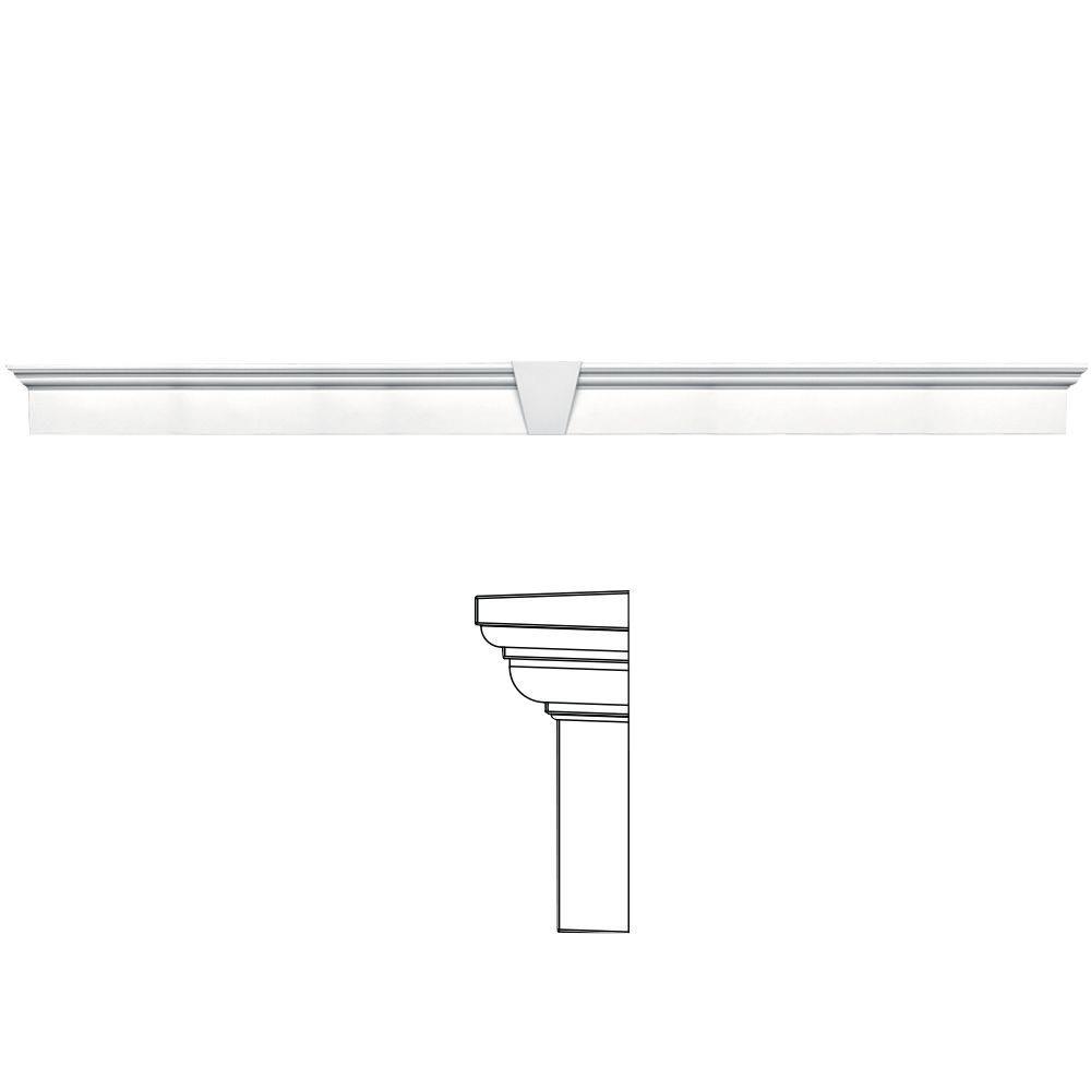 Builders Edge 9 in. x 128 in. Flat Panel Window Header with Keystone in 001 White