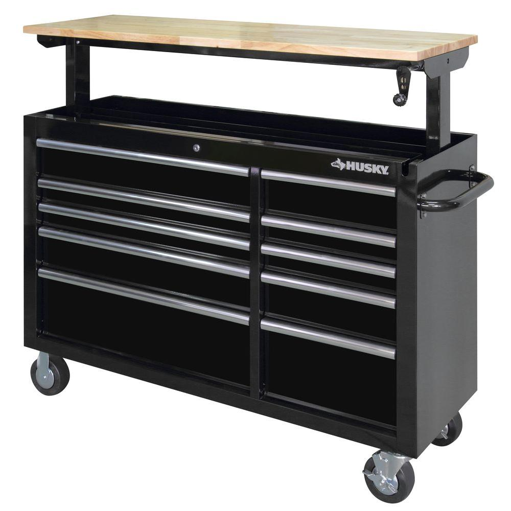 Husky 52 In 10 Drawer Mobile Workbench With Adjustable Height Top Black Holc5210b1od The