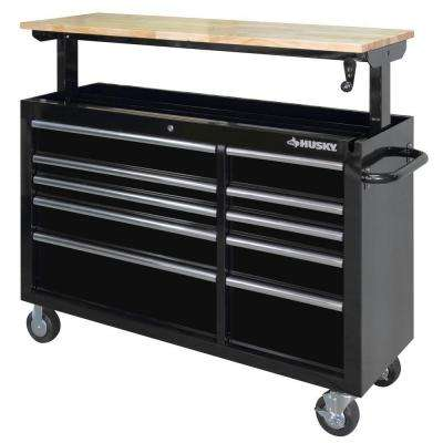 52 in. 10-Drawer Mobile Workbench with Adjustable-Height Top, Black