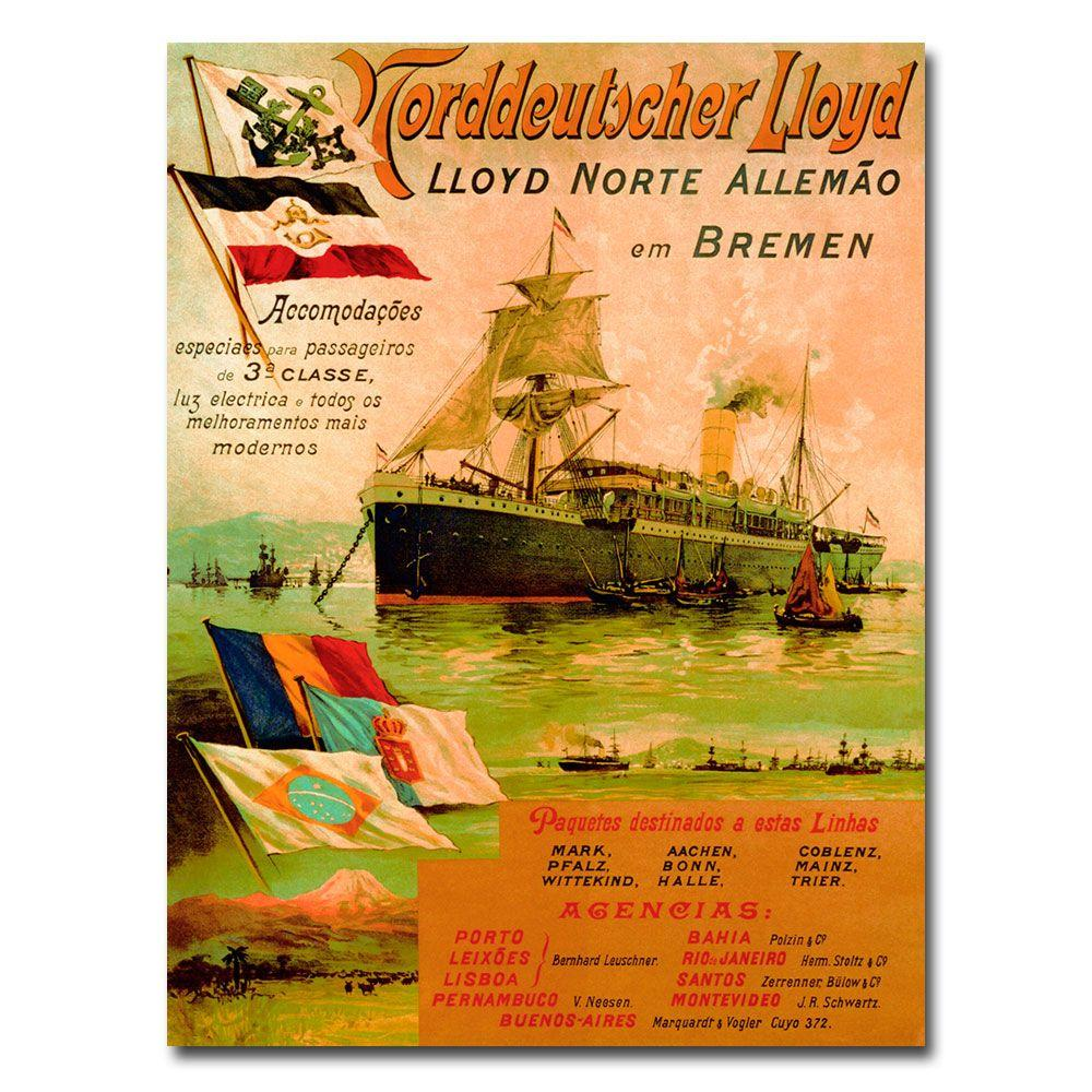 shopping sold worldwide top brands 24 in. x 32 in. North German Lloyd Line 1898 Canvas Art