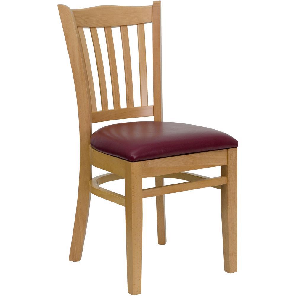 slat back chairs. Flash Furniture Hercules Series Natural Wood Finished Vertical Slat Back Wooden Restaurant Chair - Burgundy Vinyl Chairs O
