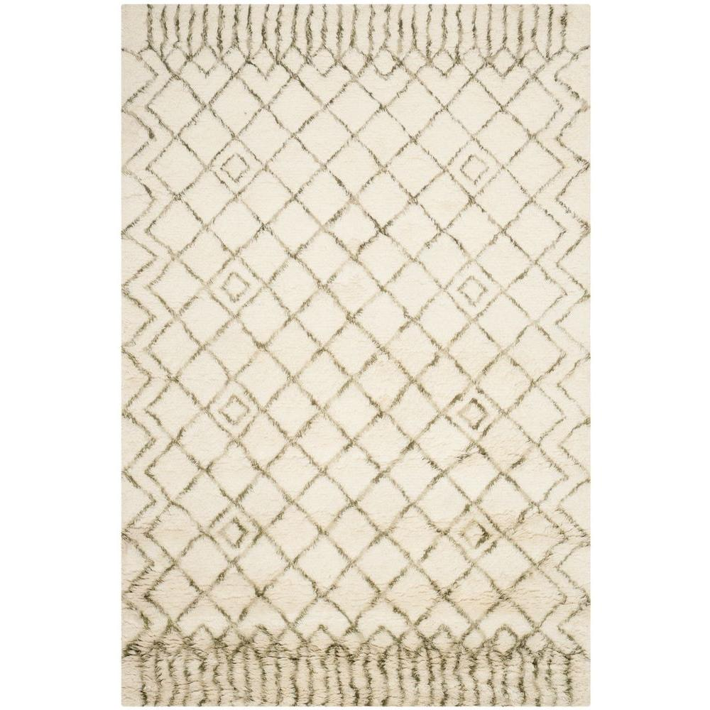 Casablanca Shag Ivory/Green 4 ft. x 6 ft. Area Rug