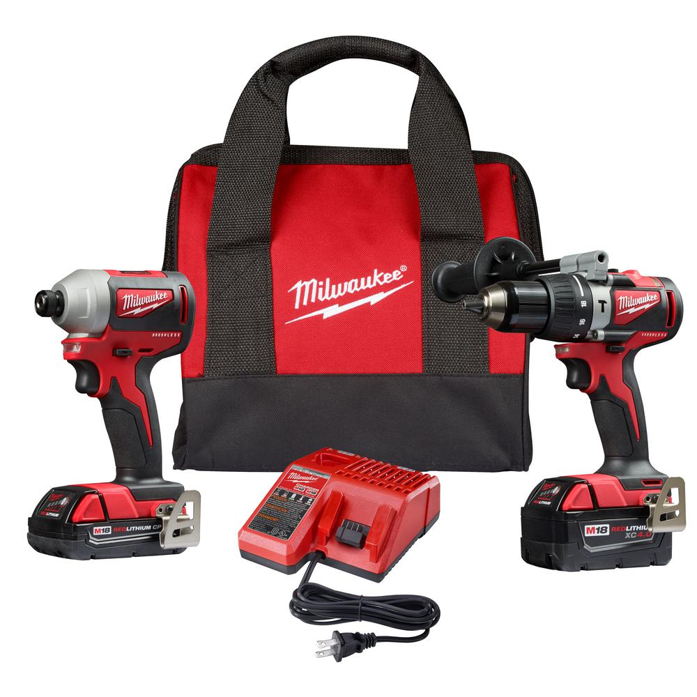 Milwaukee M18 18-Volt Lithium-Ion Brushless Cordless Hammer Drill/Impact Combo Kit (2-Tool) with 2 Batteries, Charger and Bag