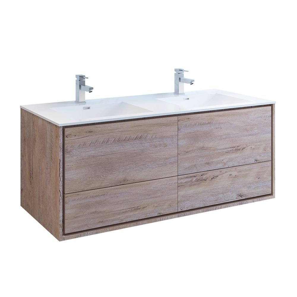 Fresca Catania 60 in. Double Wall Hung Bath Vanity in Rustic Natural Wood with Vanity Top in White with White Basin