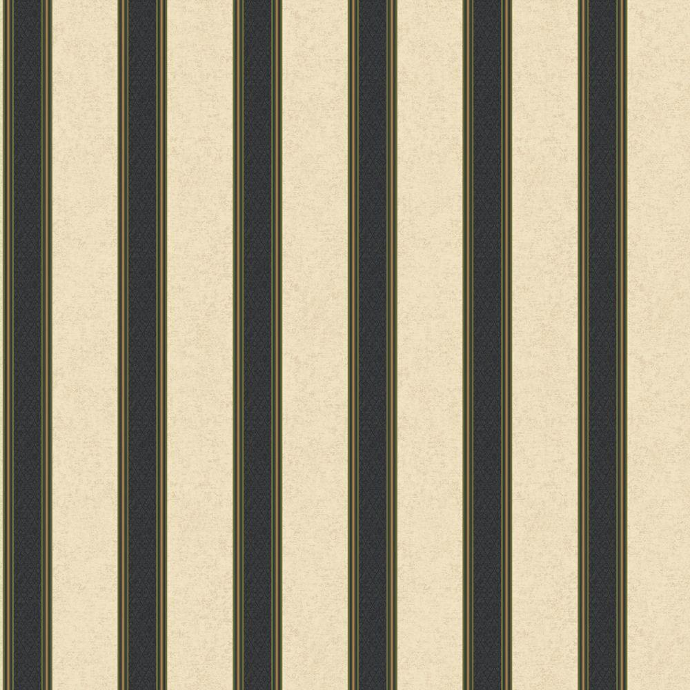 The Wallpaper Company 56 sq. ft. Green Damask Harlequin Stripe Wallpaper-DISCONTINUED