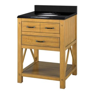 Avondale 24 in. W x 22 in. D Bath Vanity in Weathered Pine with Granite Vanity Top in Midnight Black with Oval White Ba