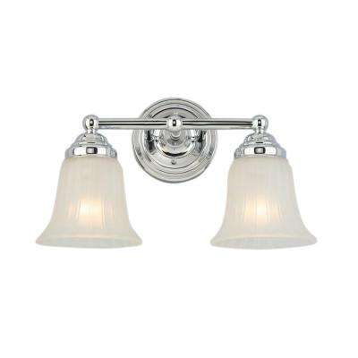 2-Light Chrome Vanity Light with Frosted Glass Shade