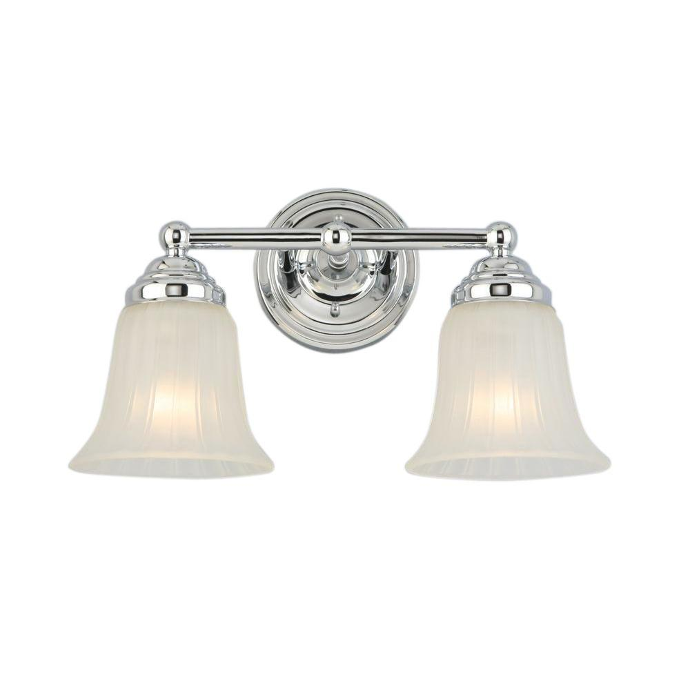 Hampton Bay 2-Light Chrome Vanity Light with Frosted Glass Shade ...