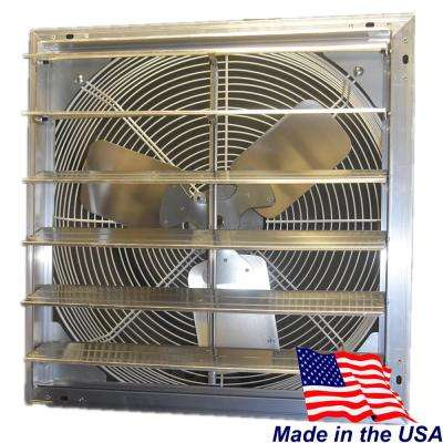 30 in. 5090 CFM Power Shutter Mounted Single Speed Exhaust Fan