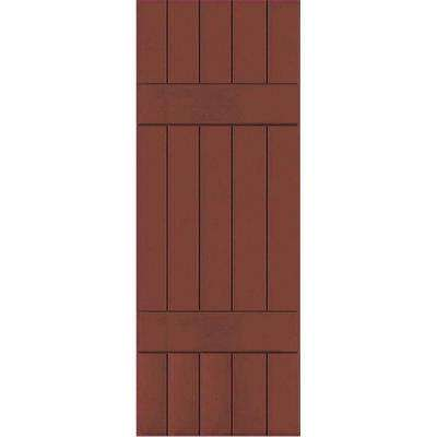 18 in. x 68 in. Exterior Composite Wood Board and Batten Shutters Pair Country Redwood