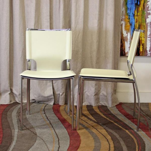 Baxton Studio Montclare Ivory Faux Leather Upholstered Dining Chairs (Set of