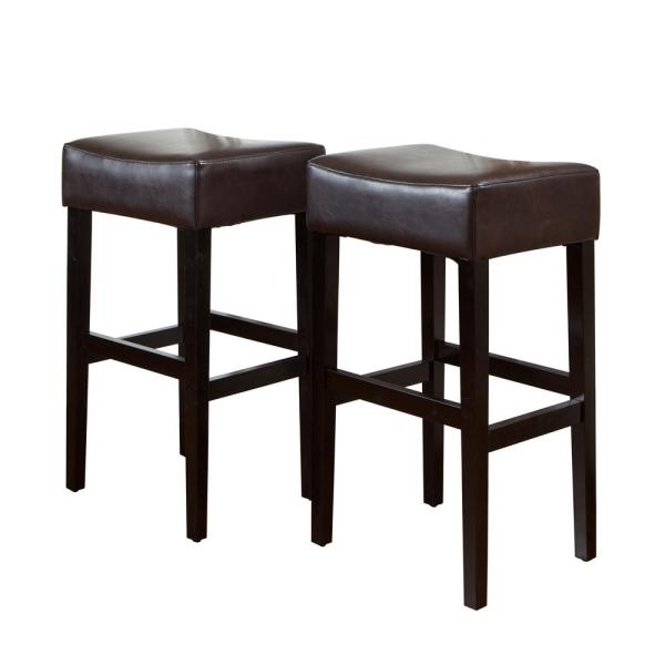 Noble House Lopez 30 in. Brown Backless Bar Stool (Set of 2)