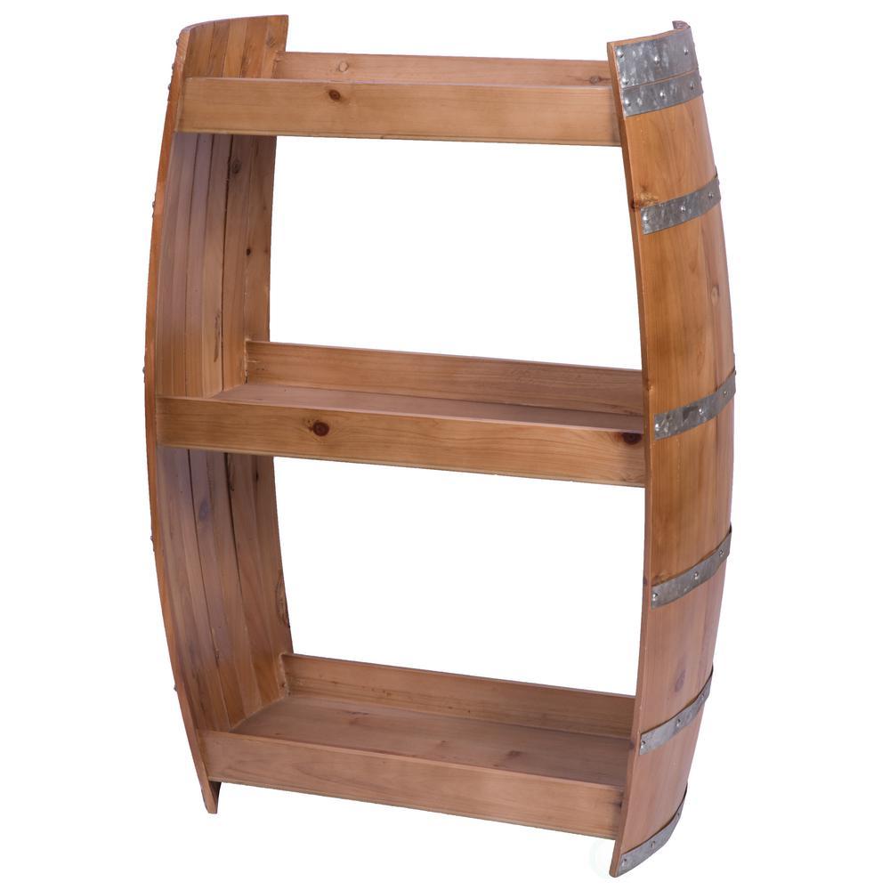 24-Bottles Brown Wooden Wine Barrel Bar Storage Rack with Shelves