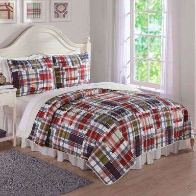Navy Khaki Preppy Plaid Red Queen Quilt and Shams