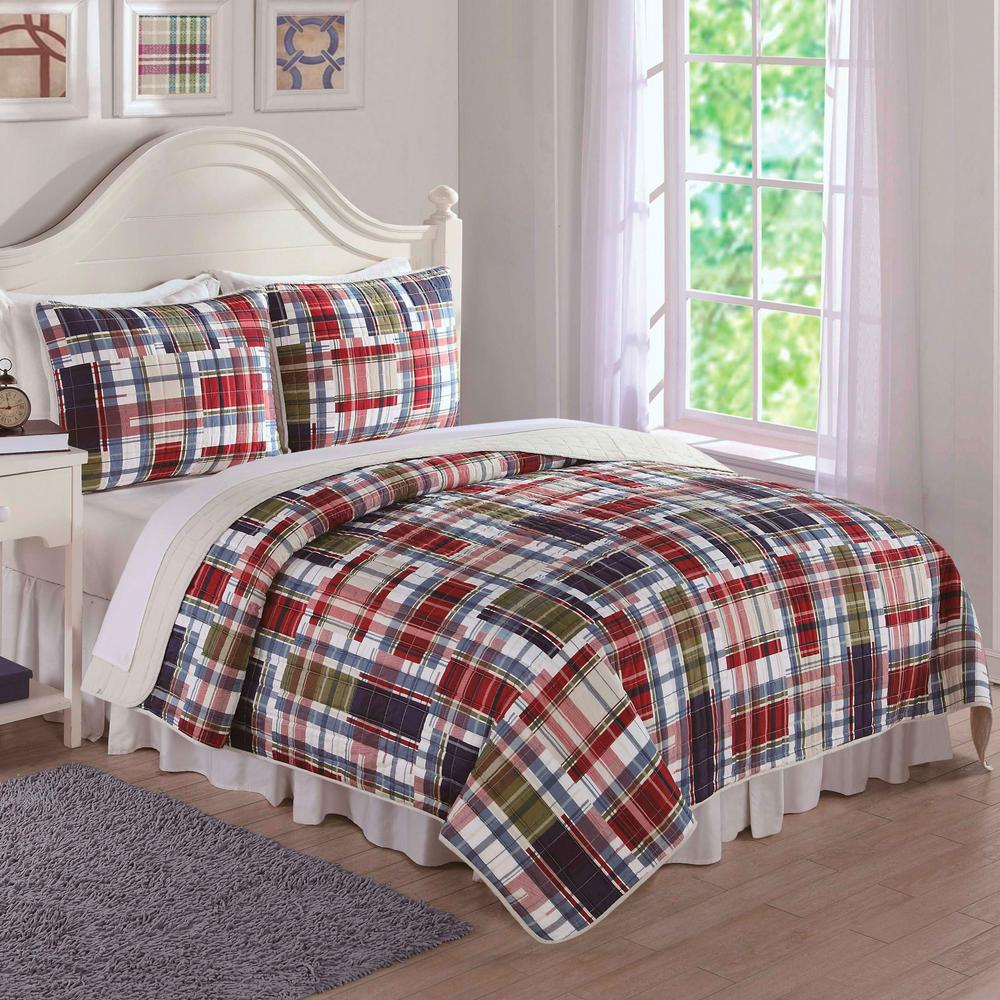 Navy Khaki Preppy Plaid Red Twin Quilt and Sham