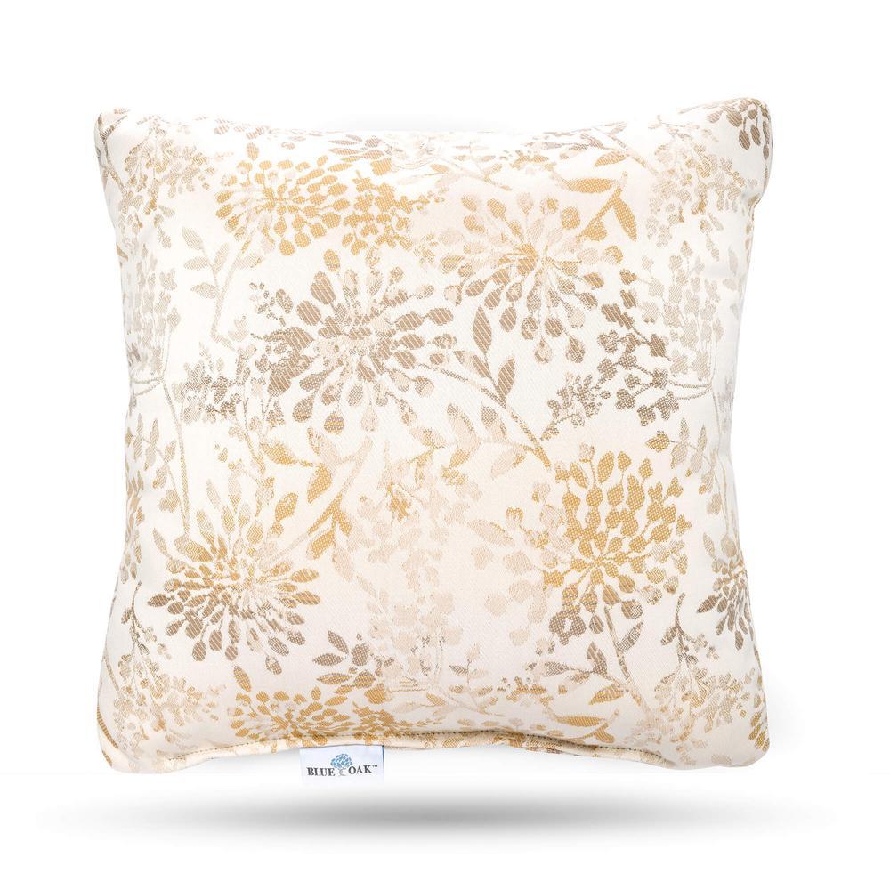 BLUE OAK Outdura Whisper Antique Square Outdoor Throw Pillow (2-Pack)