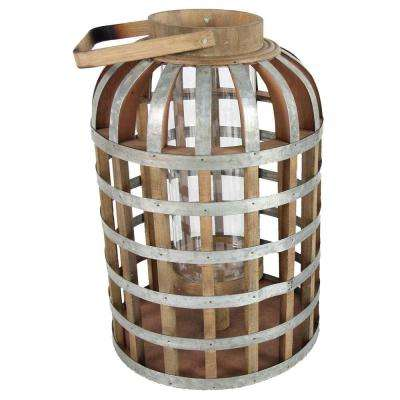 11.5 in. x 22.5 in. Wood and Iron Decorative Lantern